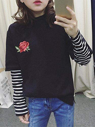 Minetom Verano Blusa Ocasional Manga Corta Color Sólido Suelto Tops Cuello Redondo Moda Bordado Rosa Flores Mujeres T Shirt Camisetas Negro