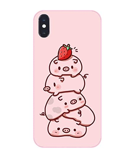 best cheap 02006 0f4ff UnnFiko Pig Phone Case Compatible with iPhone X, Cute Cartoon Animal Soft  Silicone Protective Case for Girls Women (Strawberry Pig, iPhone X)