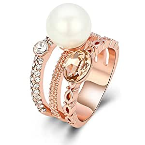 Kemstone Rose Gold Tri Layered Pearl Ring for Women Lady, Size 7