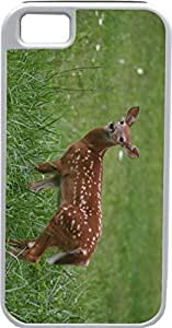 LJF phone case Blueberry Design iPhone 5 iPhone 5S Case Deer Baby in Green Grass Background