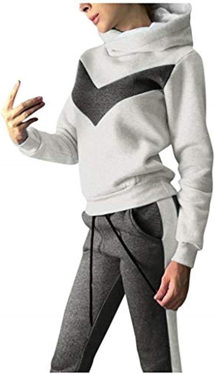 BaZhaHei Tute Donna Sportiva 2pcs Tuta da Ginnastica Invernale Casuale Abbigliamento Sportivo Patchwork Felpa con Cappuccio+Pantaloni,Manica Lunga Pullover con Coulisse