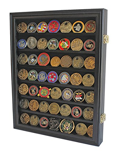 (Lockable Military Challenge Coin Casino Chip Display Case Cabinet Rack, Real Glass Door, COIN26-BLA)