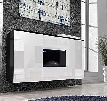 Letti e Mobili - Credenza Varedo nero con bianco con LED: Amazon ...