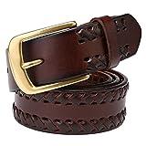 JIEJING Men's manual weave Belt,Leisure wild Pin buckles Belt-dark brown 125cm(49inch)