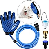 kacocob Pet Bathing Glove Tool - Pet Shower Sprayer Scrubber/Massage Tool Shower, 3 Faucet Adapters, Indoor Outdoor Use, Dog Cat Horse Grooming Glove