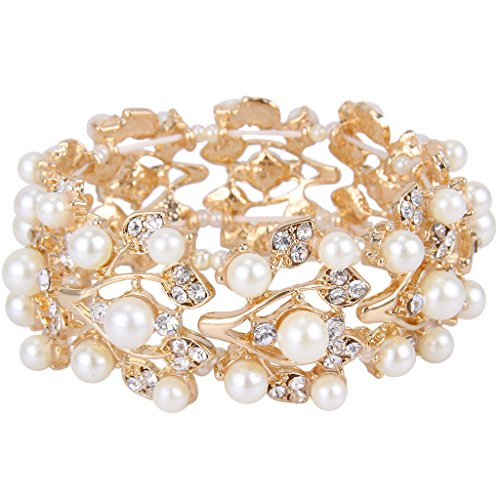 (EVER FAITH Gold-Tone Crystal Cream Simulated Pearl 1920's Style Leaf Stretch Bracelet Clear)