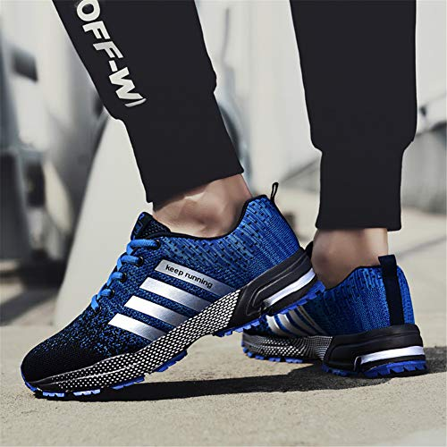 Pictures of KUBUA Mens Running Shoes Trail Fashion Sneakers Tennis Sports Casual Walking Athletic Fitness Indoor and Outdoor Shoes for Men EU 45/11 D(M) US F Blue 4