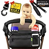 [NEWEST 2018] BEST STROLLER ORGANIZER Stroller Accessories + BONUS Stroller Hook, Shoulder Strap & Baby on Board Sticker | Insulated Cup Holders - Perfect for Jogging, Travelling or Shopping by Kaywee