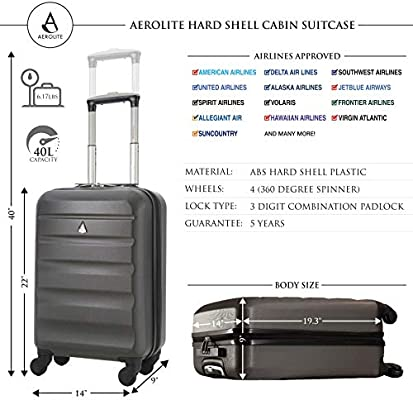 Aerolite 22x14x9in (56x36x23cm) Lightweight ABS Hard Shell 4 Wheel Carry On  Hand Cabin Luggage Suitcase - Maximum Size for Delta, American Airlines,
