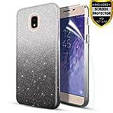 Lukey Case for Samsung Galaxy J3 2018,J3 Orbit,J3 V 3rd Gen,J3 Achieve,J3 Star Phone Case with Screen Protector, [Ultar-Thin Slim] Glitter/Bling/Sparkly/Shiny Hybrid Protective Case,Black