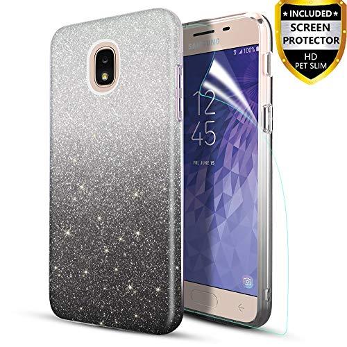 Design Protector Stars Case (Case for Samsung Galaxy J3 2018,J3 Orbit,J3 V 3rd Gen,J3 Achieve,J3 Star Phone Case with Screen Protector for Girls Women,Glitter Protective Phone Case for Samsung J3 2018,Black)