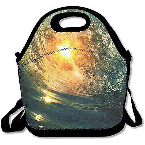 Price comparison product image Beautiful Breaking Surfing Ocean Wave Closing At Sunset Time Near Tropical Shore Latest Lunch Tote Lunch Bag Outdoor Picnic Reusable