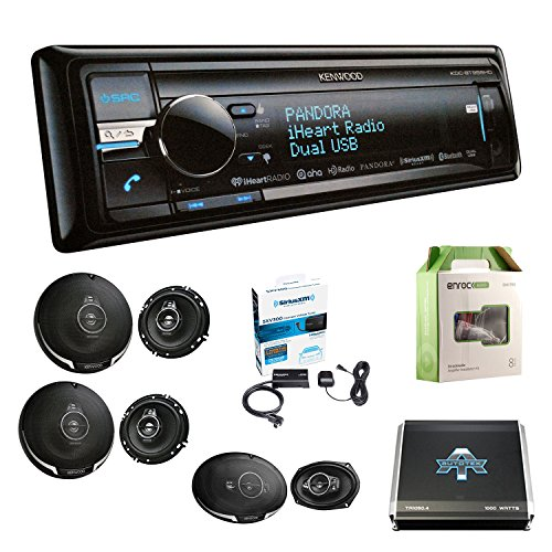 (Kenwood KDCBT958HD CD Play BT USB w/ KFC1695PS 3-Way 320W SPKR (2-Pairs), KFC6995PS 5-Way SPKR 650W (Pair), Autotek TA10504 1000W 4 Chan Amp, Enrock EAKIT8G 8G Amp Kit & Sirius SXV300 Radio Tuner)