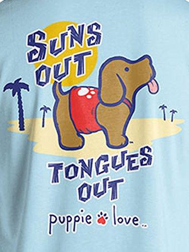 Puppie Love Rescue Dog Adult Unisex Short Sleeve Cotton T-Shirt, Sun Out Pup (Medium, Light Blue) by Puppie Love (Image #2)
