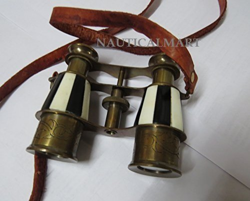 NauticalMart Marine Brass Binocular with Antique Finish Spy Glass with Belt by NauticalMart