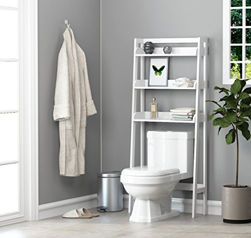 (UTEX 3-Shelf Bathroom Organizer Over The Toilet, Bathroom Spacesaver, White Finish)