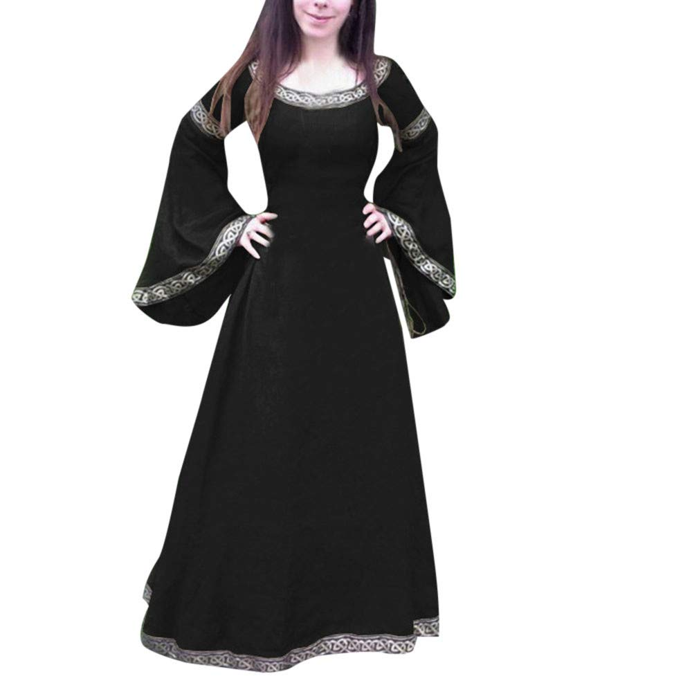 Halloween Women Medieval Dress Renaissance Lace Up Vintage Style Gothic Dress Floor Length Women Hooded Cosplay Dresses Retro (ZD_Black, 3XL) by Hotcl