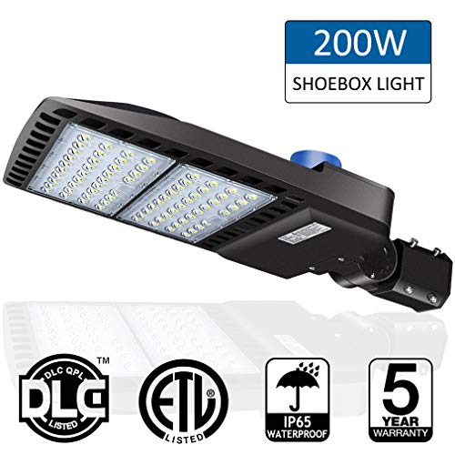 200W LED Parking Lot Lights- LEDMO 5000K LED Street Lights Shoebox Pole Lights, Waterproof 26000LM Super Bright Dusk to Dawn Outdoor Commercial Area Road Lighting Slip Fitter,LED Parking lot Lighting - Outdoor Light Boxes