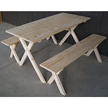 Bon A U0026 L Furniture Co. Yellow Pine 5u0027 Economy Table With 2 Benches