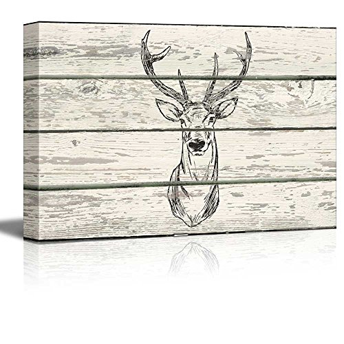 Block Print Stag Deer with Antlers Artwork Rustic