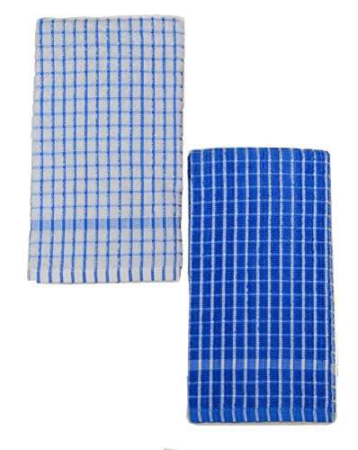 (Kuk's Cuisine Kitchen Towels - Ultra Absorbent - 100% Cotton - Size: Jumbo (25.5 in x 17.7 in) - AKA European Tea Towels, Dish Cloths, Dish Towels - Checkered Pattern - Set of Two (Blue & White))