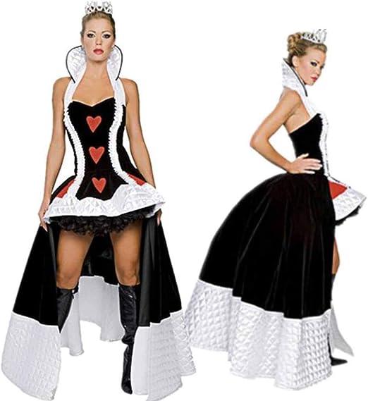 XRQ Disfraz de Reina del Corazón Rojo de Halloween, Disfraz de ...