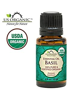 US Organic 100% Pure Basil Essential Oil - USDA Certified Organic, Steam Distilled W/ Euro droppers (More Size Variations Available) (15 ml / .5 fl oz)