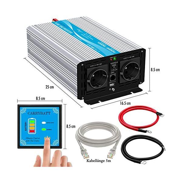 51eJ%2BifW7vL CARRYBATT 1000W kfz Spannungswandler Wechselrichter Reiner Sinus 12V auf 230V-inkl.5 Meter Fernsteuerung-2-EU-AC…