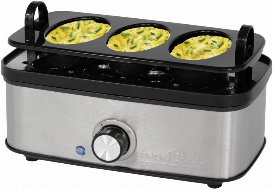 funci/ón de Tortillas Profi Cook PC-EK 1139 Acero Inoxidable se/ñal de Final ac/ústica Hervidor de Huevos para hasta 8 Huevos escalfador