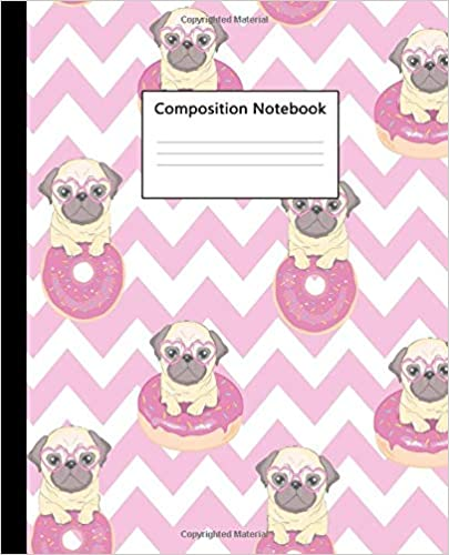 Composition Notebook: Cute Pink Donut Pug Dog Blank College Ruled Notebook For Students, Kids And Teens. Pretty Medium Lined Journal For School And College For Writing & Notes. Descargar ebooks PDF
