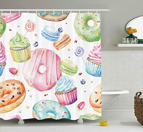 Ambesonne Sweet Decor Shower Curtain by, Delicious Macaron Cupcakes Donuts Muffins Sugar Tasty Yummy Watercolor Design, Fabric Bathroom Decor Set with Hooks, 75 Inches Long, Green - Tasty Muffin
