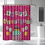 Fakgod Kids Birthday Shower Curtain with Hooks Colorful Letters in Shape of Present Boxes Balloons Cake Graphic Bathroom Decoration W108 x L72 Dark Coral Multicolor