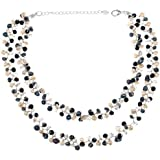 Silk Thread and Genuine Black White Cultured Freshwater Pearl Strand Cluster Necklace, 16-18 inches