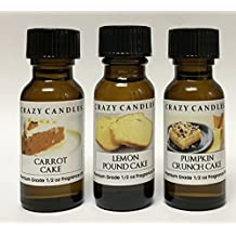 3 Bottle Set: 1 Carrot Cake, 1 Lemon Pound Cake, 1 Pumpkin Crunch Cake 1/2 FL Oz Each (15ml) Premium Grade Scented Fragrance Oil by Crazy Candles
