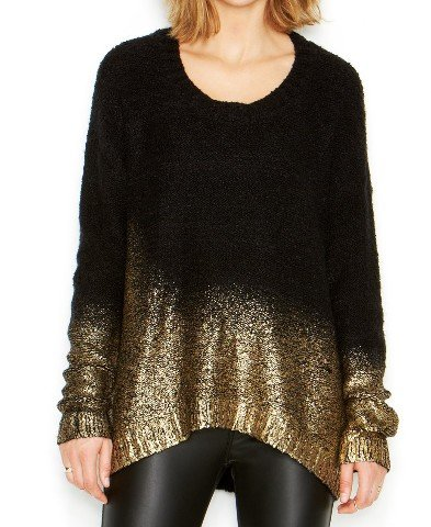 Bar III Womens Wool Blend Boucle Pullover Sweater Black -