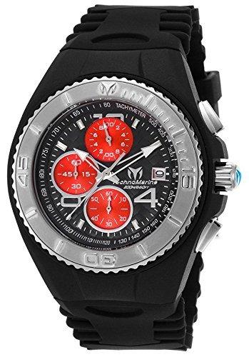 Technomarine Men's Cruise Stainless Steel Quartz Watch with Silicone Strap, Black, 28 (Model: TM-115347 ()