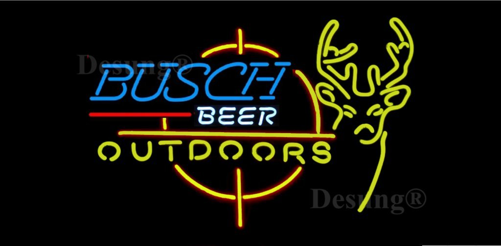Desung 20''x16'' Busch Outdoors Deer Stag Buck Neon Sign (VariousSizes) Beer Bar Pub Man Cave Business Glass Lamp Light DC149