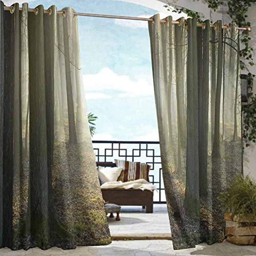 DILITECK Outdoor Curtain Forest Foggy Oak Forest in Autumn Morning Sunbeams Entering from The Back Image Print Waterproof Patio Door Panel W96 xL84 Tan and White ()