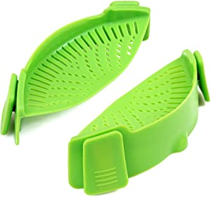 Cozihom Silicone Clip-on Stew-Pan Strainer, Pasta Strainer, Colander, for Pan Universal Size, Food Grade Material/Heat Resistant, 2 PCS, Green