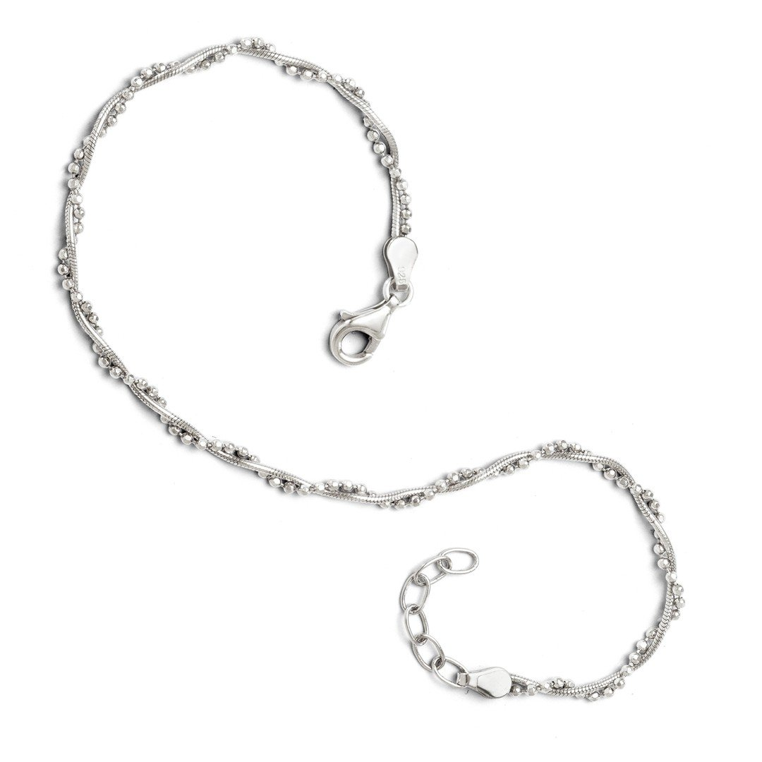 Ankle Bracelet Foot Jewelry Anklet - ICE CARATS 925 Sterling Silver Adjustable Chain Plus Size Extender Anklet Ankle Beach Bracelet 9 10 Fine Jewelry Ideal Gifts For Women Gift Set From Heart