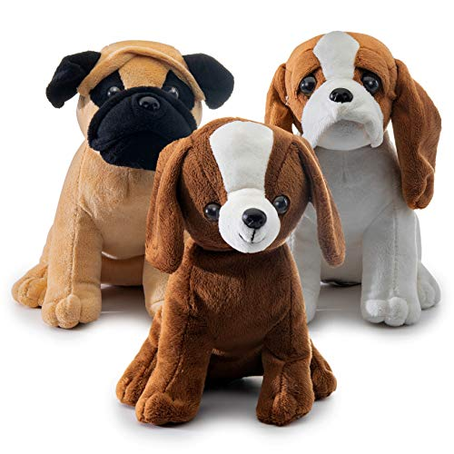 Prextex Plush Puppy Dogs - Set of 3 Realistic Looking 8-Inch Cute and Cozy Stuffed Animals]()