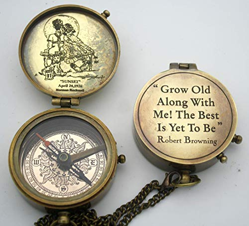 grow old along with me engraved compass with norman rockwell
