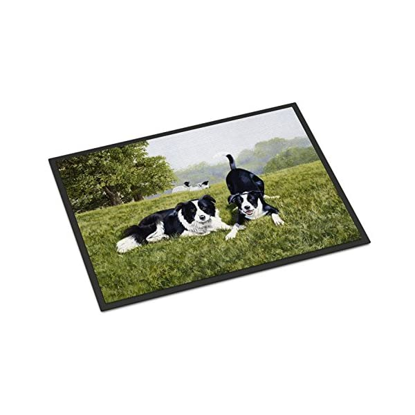 Caroline's Treasures FRF0014JMAT Let's Play Border Collie Indoor or Outdoor Mat 24x36, 24H X 36W, Multicolor 1