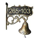 Aspire Customized Home Address Sign, Vintage Decorative Cast Iron Door Bell, Courtyard Wall Bell, Dinner Bell-Gold