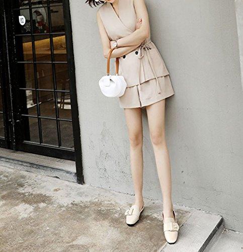 RESPEEDIME Women's Casual Leather Shoes British Style Comfort Flat Peas Shoes Beige BTa40
