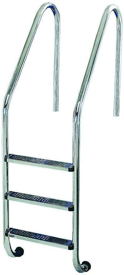 Escalera Modelo Standar Peldaño Antideslizante de Flexinox - AISI 304 - 87112934 - 3 Peldaños: Amazon.es: Jardín