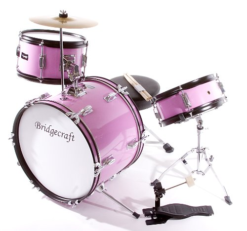 Children's Pink 3 Piece 16 Inch Drum Set with Chair, Sticks, Stool, Adjustable Tuning Key, Pick (Little Girl Drum Set)