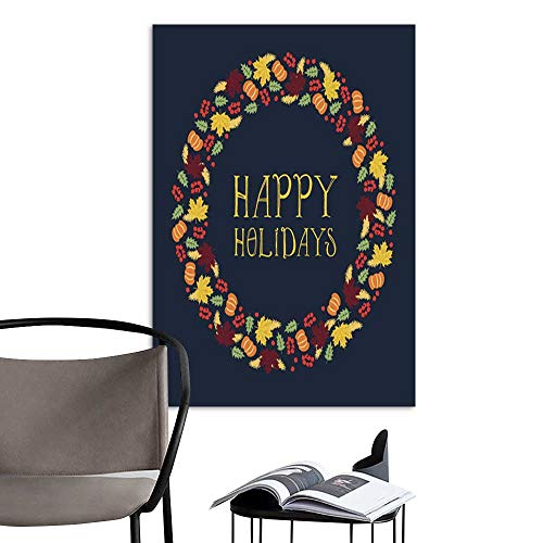 (UHOO Linen Art Prints PicturesHappy Holidays Card with Wreath .jpg Wall Art for Bedroom Living Room 20