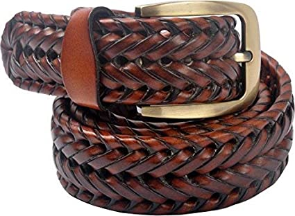 VOGARD Genuine Leather Men's Braided Belt (Tan, Free Size)