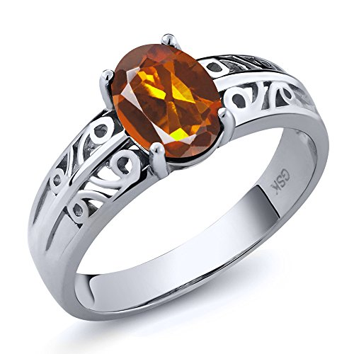 Gem Stone King 1.10 Ct Oval Orange Red Madeira Citrine 925 Sterling Silver Ring (Size 7)